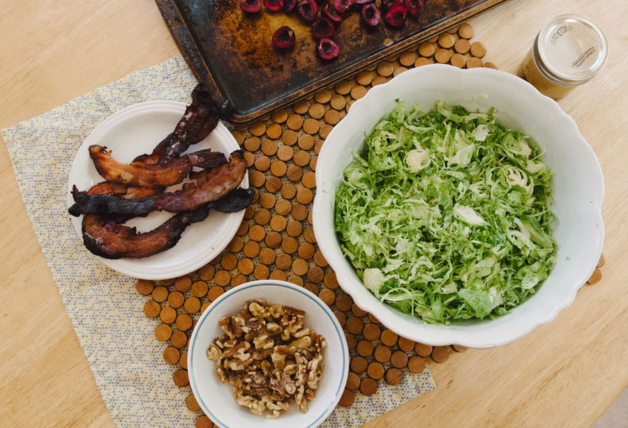 Brussels Sprout Salad With Walnuts, Cherries & Bacon | So...Let's Hang Out