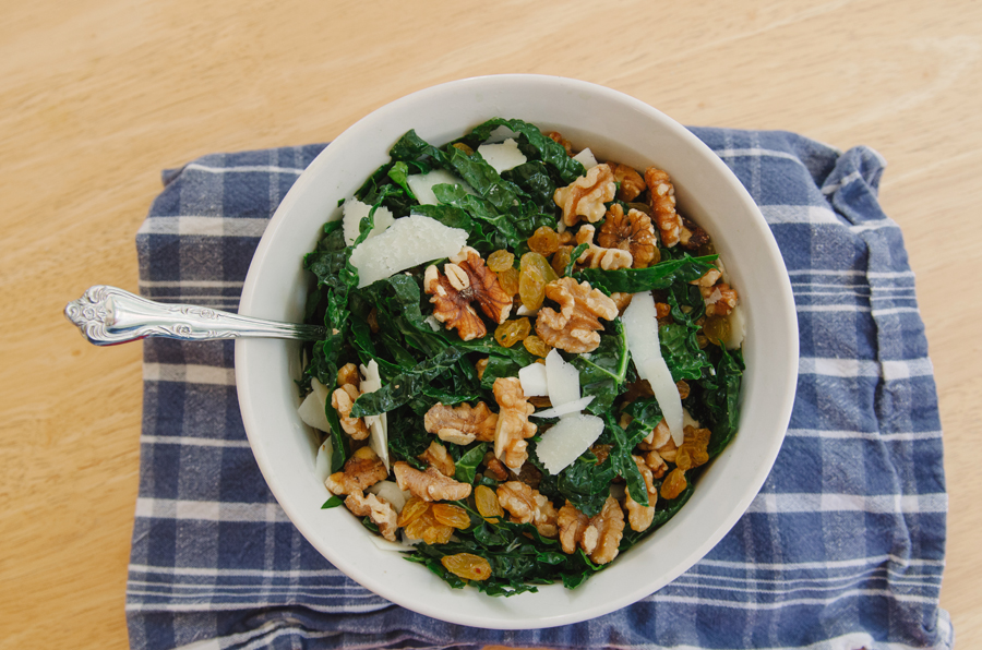 Kale Salad With Golden Raisins, Walnuts & Pecorino