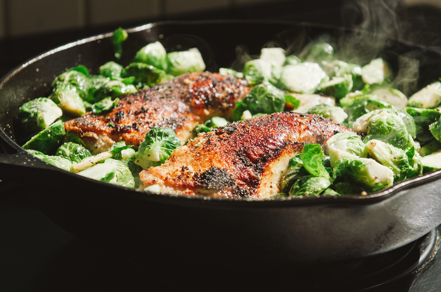 One-Pan Crispy Chicken Legs & Brussels Sprouts | So...Let's Hang Out