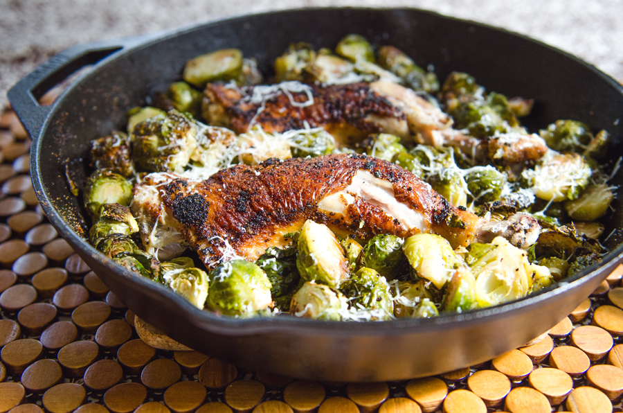 So let 39 s hang out one pan crispy chicken legs brussels for Chicken and brussel sprouts skillet