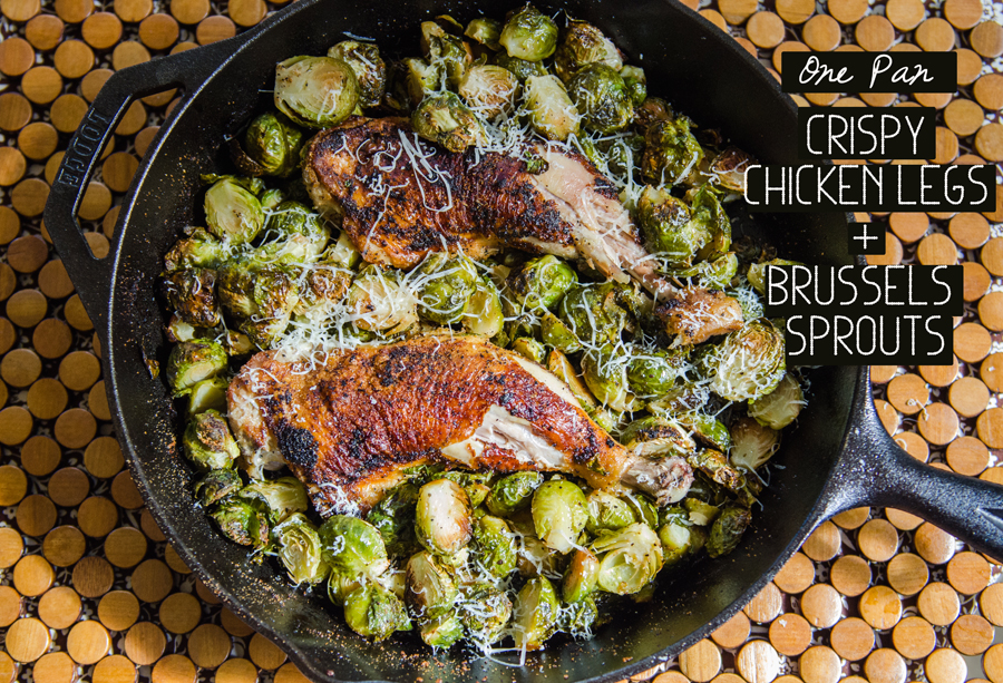 So Let S Hang Out One Pan Crispy Chicken Legs Brussels Sprouts Gluten Free Paleo