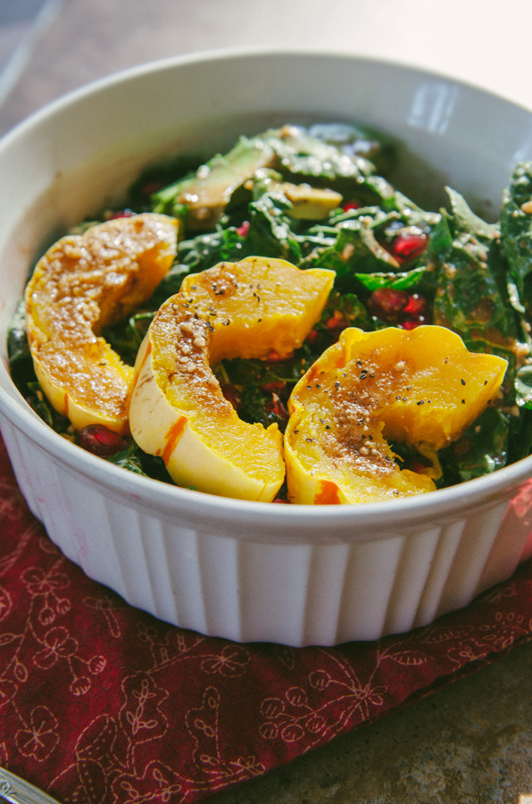 Delicata, Pomegranate & Avocado Kale Salad { Gluten-Free, Paleo & Vegan}