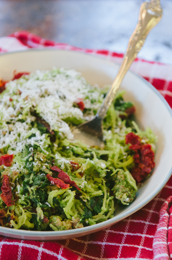 Spaghetti Squash Pesto Pasta With Chard & Sun Dried Tomatoes | So...Let's Hang Out