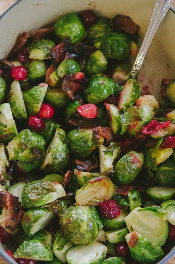 Bacon & Cranberry Roasted Brussels Sprouts With Honey Dijon Dressing