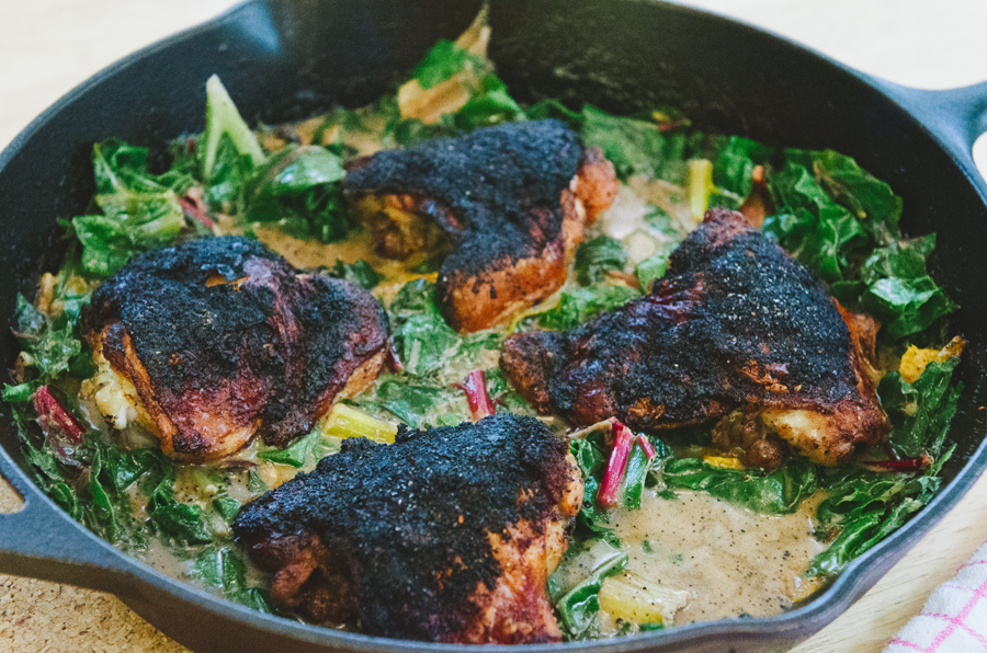 Crispy Chicken Thighs With Orange, Cranberry & Coconut Greens