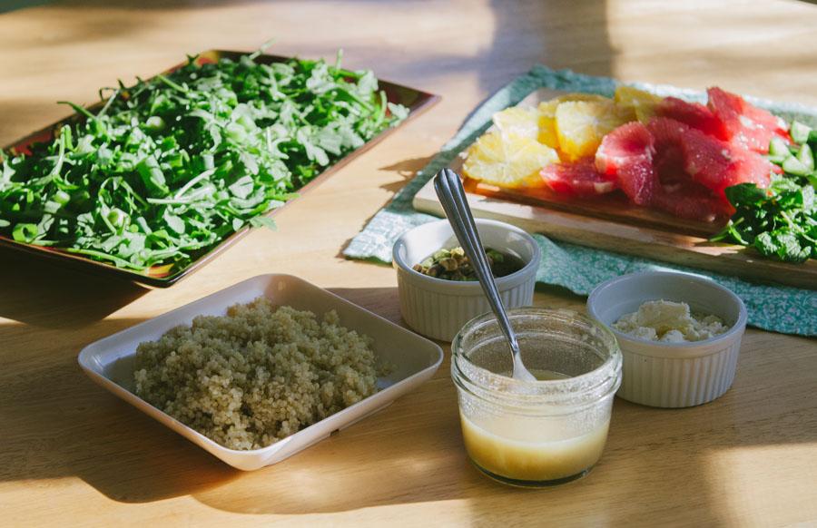Arugula & Citrus Salad With Quinoa, Pistachios & Feta | soletshangout.com