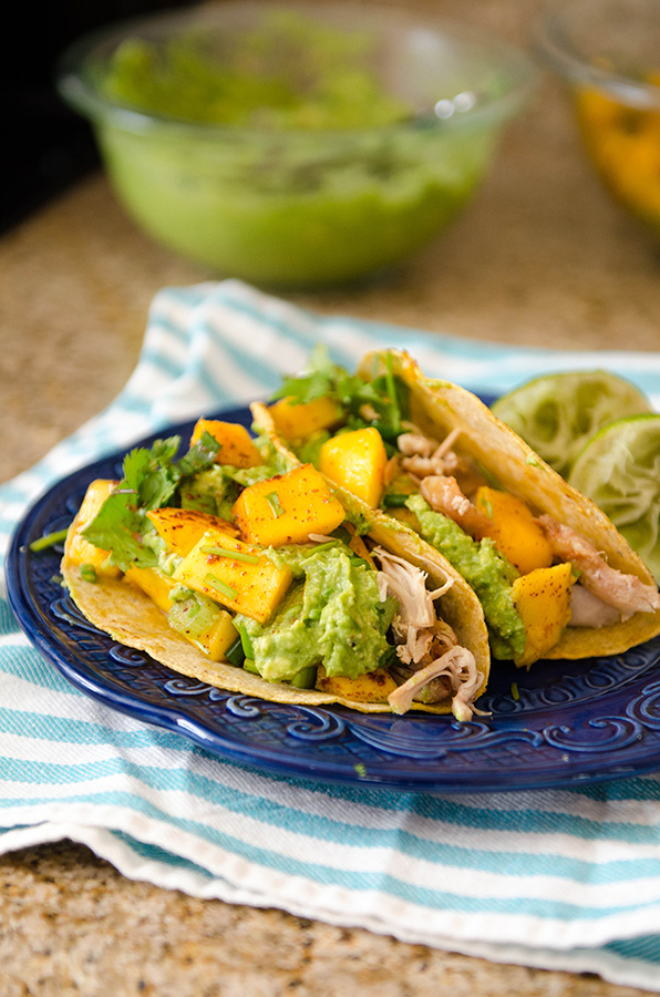 Crock-Pot Kalua Chicken Tacos with Chili Lime Mango Salsa! | soletshangout.com #glutenfree #cincodemayo #taco #hawaiian #paleo #primal