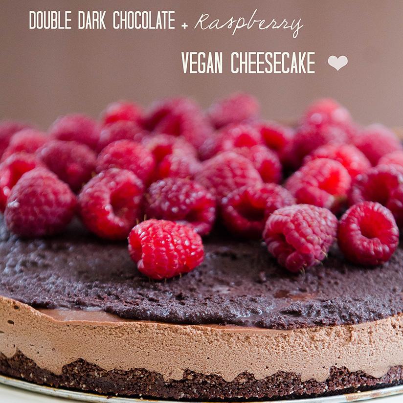 Double Dark Chocolate + Raspberry Vegan Cheesecake  soletshangout.com #raw #vegan #paleo #glutenfree