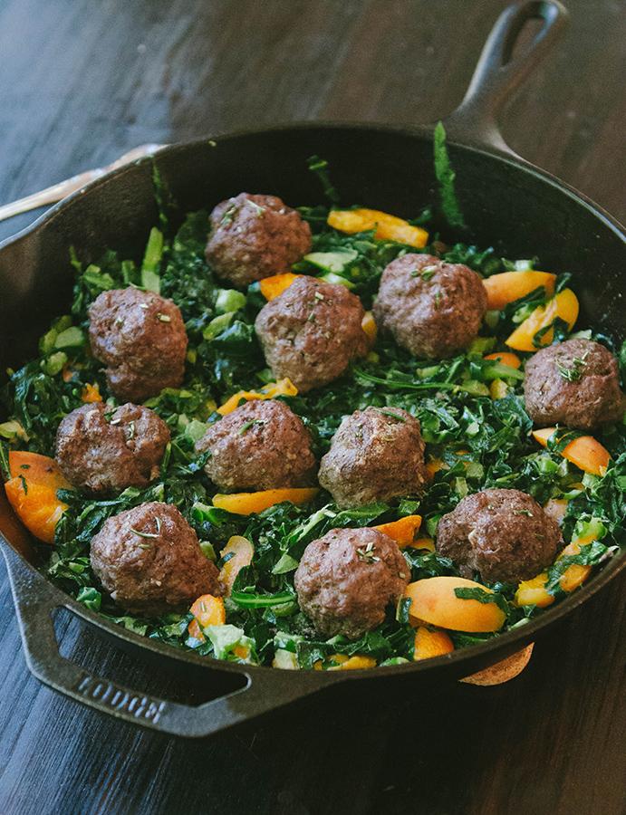 One Skillet Rosemary Meatballs With Dijon Collard Greens & Apricots + Honest Whole 30 Recap, Week Three! #whole30 #paleo #glutenfree #primal