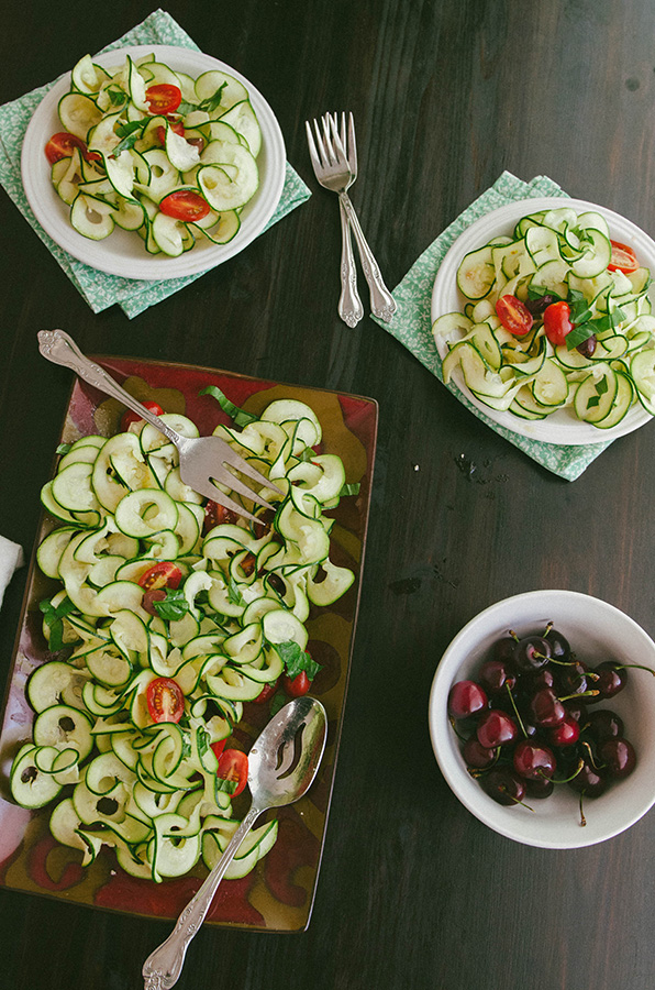 Whole 30 Recap, Week Two + Raw Zucchini Ribbon Salad With Tomatoes, Basil and Olives| soletshangout.com