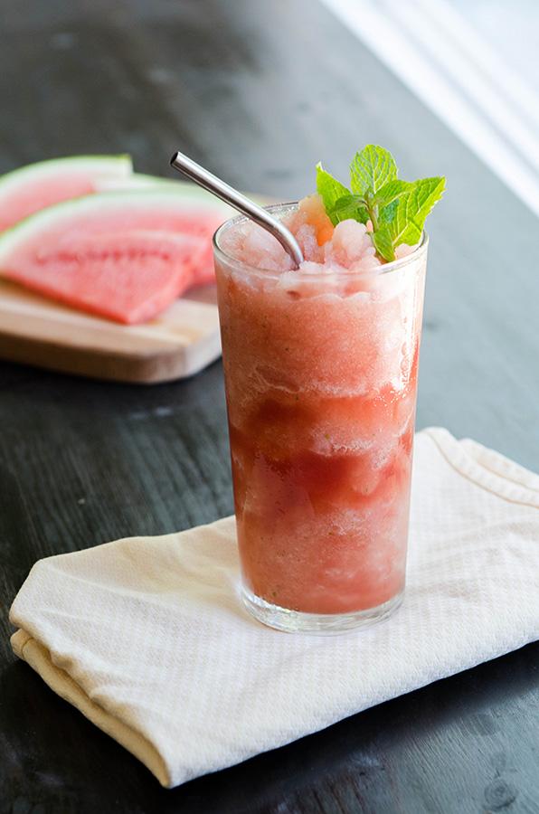 Three Ingredient Watermelon + Mint Slushie | soletshangout.com  #paleo #primal #vegan #glutenfree #slushie #slushy #summer
