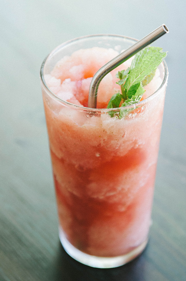 Three Ingredient Watermelon + Mint Slushie | soletshangout.com  #paleo #primal #vegan #glutenfree #slushie #slushy #summer
