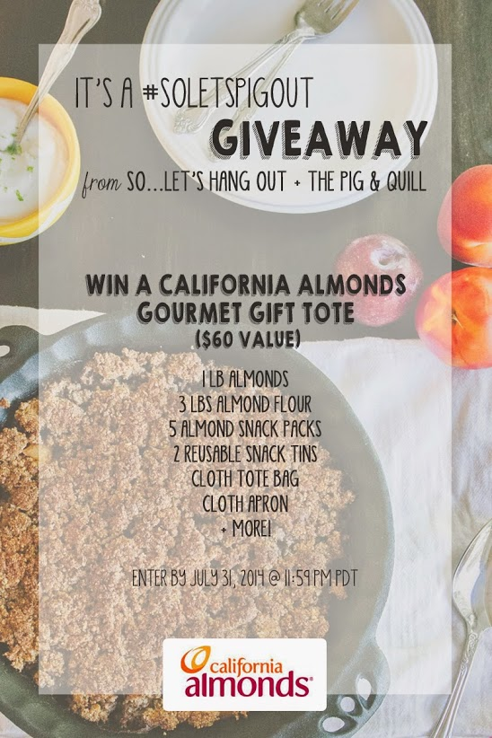 Win A California Almonds Gourmet Gift Tote {$60 Value!} #SoLetsPigOut