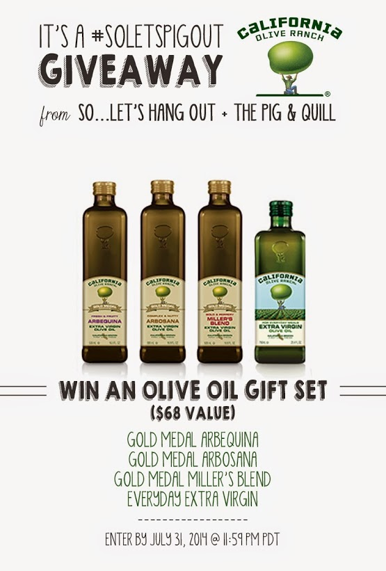 WIN an olive oil gift set! #soletspigout