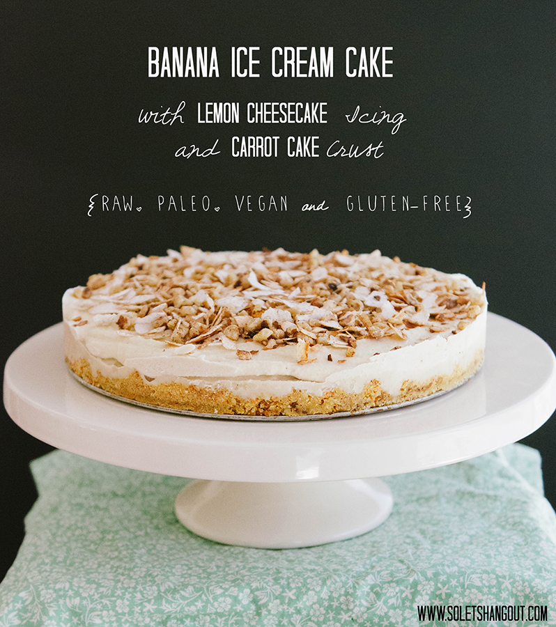 Banana Ice Cream Cake with Lemon Cheesecake Icing and Carrot Cake Crust #Raw #Paleo #Vegan #Gluten-Free}