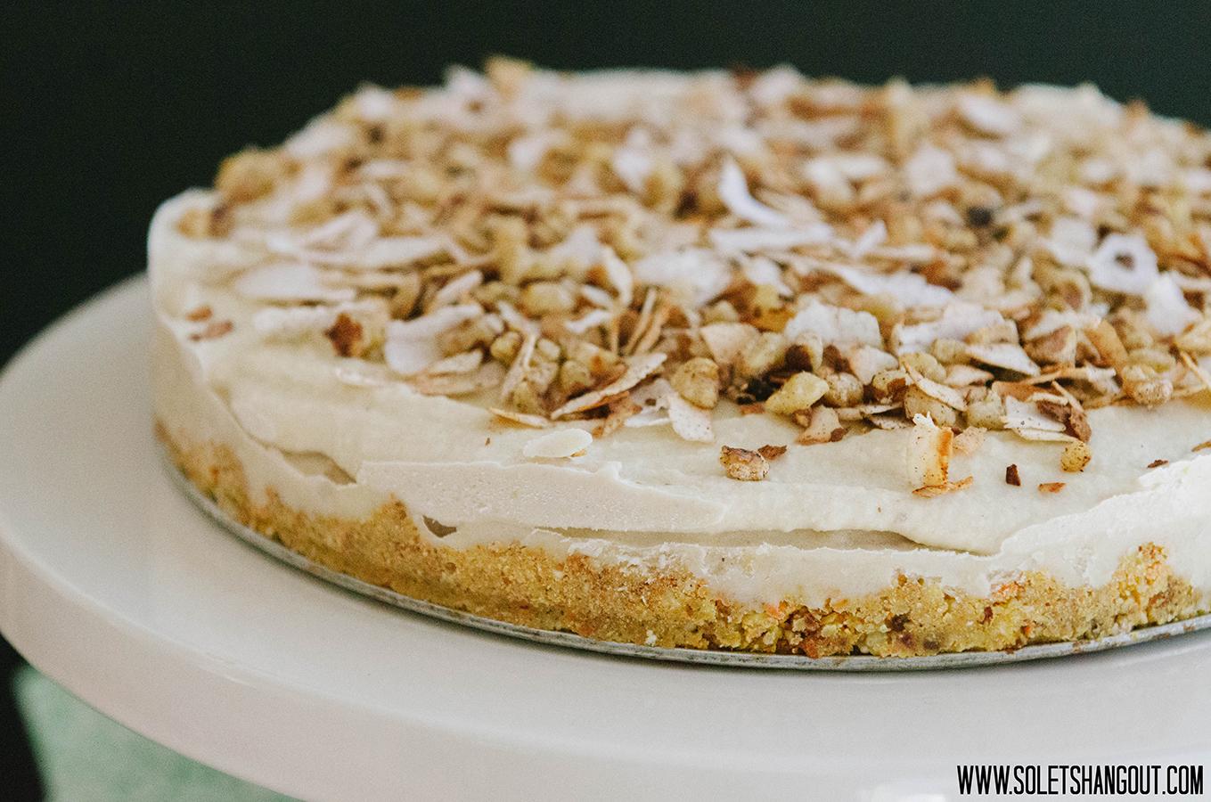 Banana Ice Cream Cake with Lemon Cheesecake Icing and Carrot Cake Crust #Raw #Paleo #Vegan #Gluten-Free}
