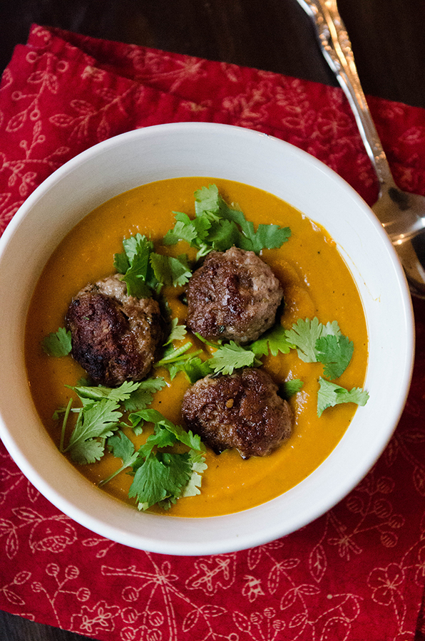... – Roasted Kabocha Squash, Carrot & Ginger Soup With Lamb Meatballs