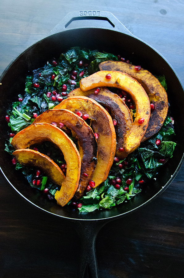 Maple Roasted Red Kuri Squash With Lemon & Garlicky Greens | soletshangout.com #glutenfree #paleo #vegetarian #vegan #AIP #autoimmunepaleo #skillet #fall