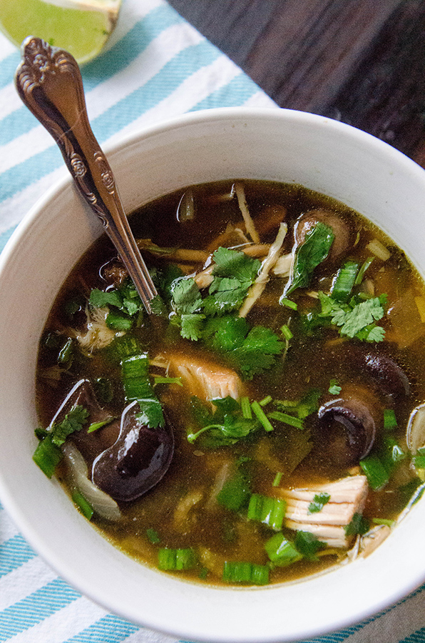 Slow-Cooker Turkey & Mushroom Soup With Ginger & Kombu // soletshangout.com #crockpot #slowcooker #turkey #leftovers #soup #paleo