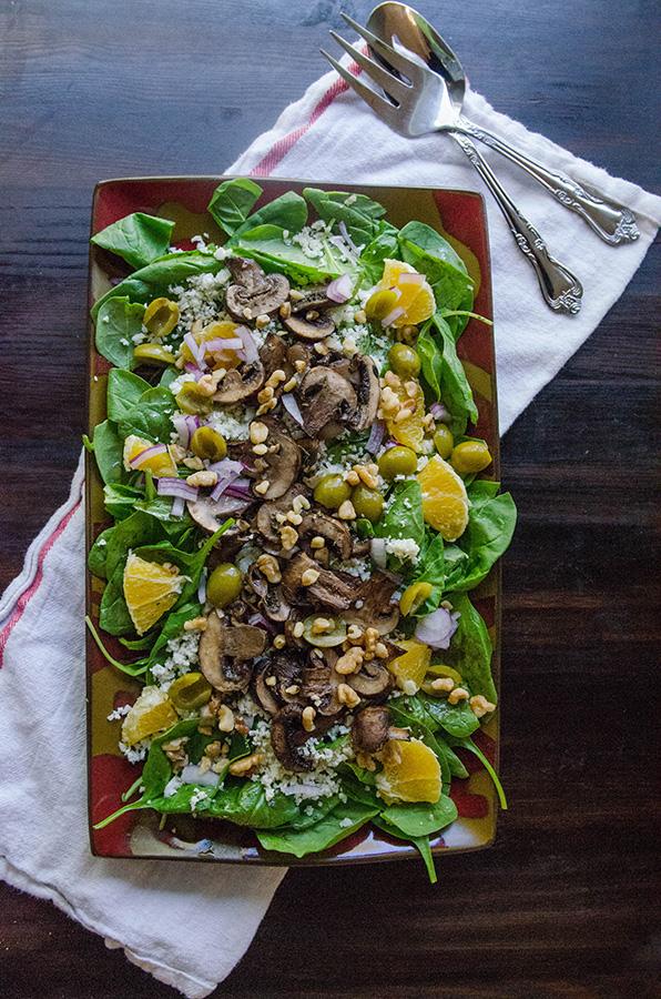 Roasted Mushroom & Cauliflower Rice Salad With Spinach, Oranges & Olives | soletshangout.com #glutenfree #vegan #paleo #salad