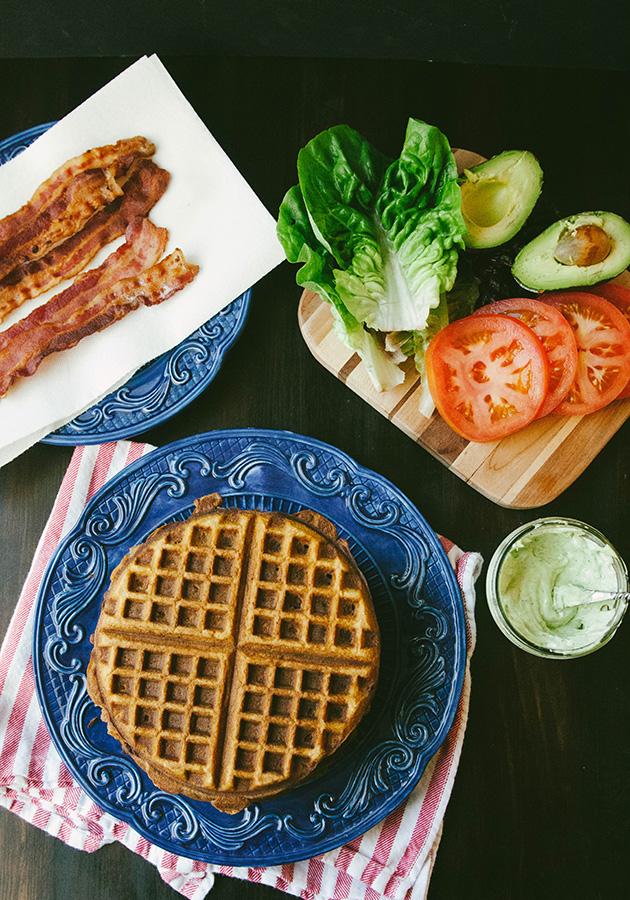 Grain-Free Sweet Potato Waffle Breakfast BLT With Garlic Basil Aioli | soletshangout.com #glutenfree #paleo #grainfree #blt #blat #waffles