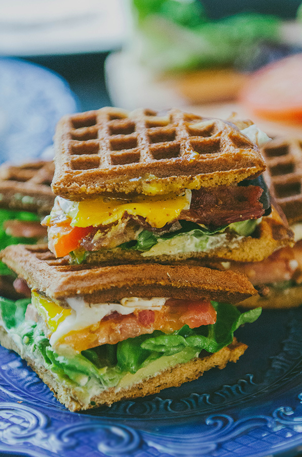 Grain-Free Sweet Potato Waffle Breakfast BLT With Garlic Basil Aioli {Gluten-Free & Paleo}