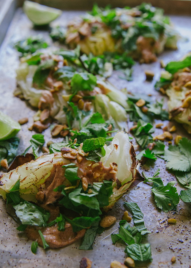 Roasted Cabbage With Almond Sesame Sauce & Herbs + The 21 Day Sugar Detox Recap {Week One} // soletshangout.com #21dsd #paleo #glutenfree #vegetarian #cabbage