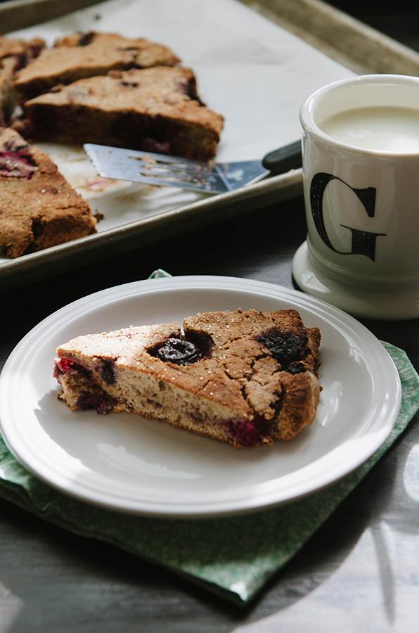 Grain-Free Ginger Cherry Berry Scones // soletshangout.com #glutenfree #grainfree #ginger #cherry #berry #vegan #paleo #primal #scone