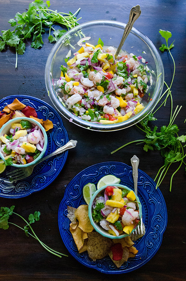 Tropical Rock Shrimp Ceviche With Pineapple, Mango & Lime //  by @SoLetsHangOut  #ceviche #shrimp #tropical #summer #glutenfree #paleo #primal #grainfree