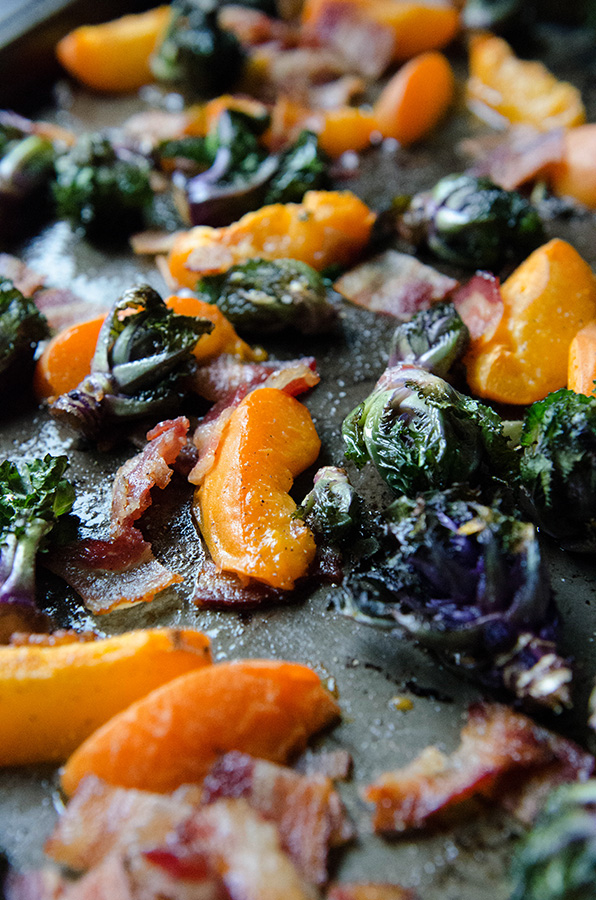 Roasted Kale Sprouts, Apricots & Bacon // by @SoLetsHangOut #breakfast #aip #autoimmuneprotocol #paleo #glutenfree #bacon #sidedish #kalesprouts #apricots #summer #eggfreebreakfast #eggallergy
