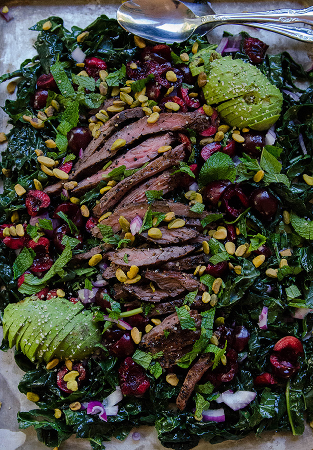 Massaged Kale Salad With Cherries, Pistachios & Grilled Flank Steak by @SoLetsHangOut // www.soletshangout.com #salad #kale #steak #grilled #cherries #paleo #glutenfree #healthy #primal #grainfree #whole30