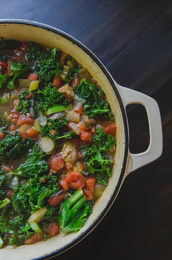 Dad's Favorite Spicy Sausage Soup with Kale by @SoLetsHangOut // www.soletshangout.com #glutenfree #soup #sausage #kale #spicy #paleo #whole30 #soup #stew