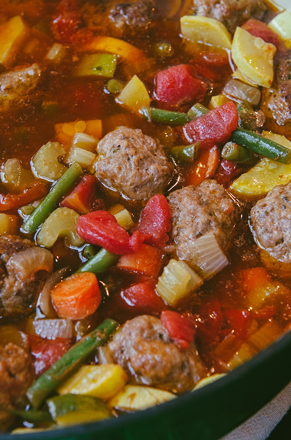 #Paleo Minestrone Soup with Italian Pork Meatballs by @SoLetsHangOut #soup #primal #glutenfree #minestrone #meatballs #comfortfood