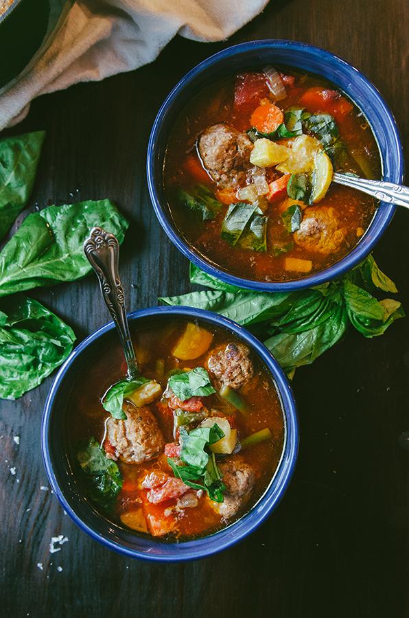 #Paleo Minestrone Soup with Italian Pork Meatballs by @SoLetsHangOut #soup #primal #glutenfree #minestrone #meatballs #comfortfood